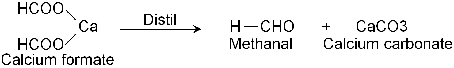 Formation Of Methanal By Distilling The Calcium Salts