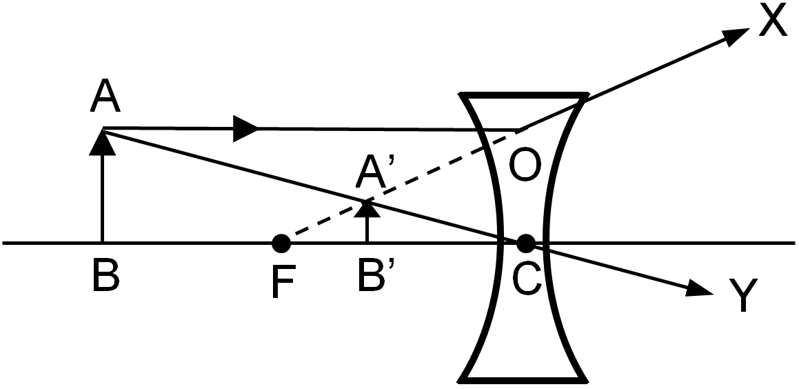 formation of different types of images by a concave lens